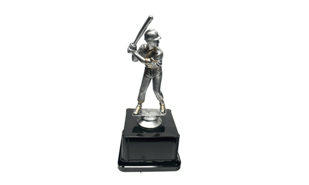 Pewter and Gold Tone Male Baseball Trophy: 7-1/4""