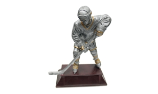 Pewter and Gold Male Hockey Player: 8""