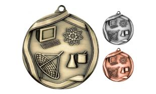 Die Cast Science Medallion: Antique Gold 2-1/4""