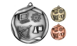 Die Cast Science Medallion: Antique Silver 2-1/4""