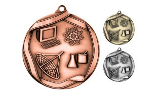 Die Cast Science Medallion: Antique Bronze 2-1/4""