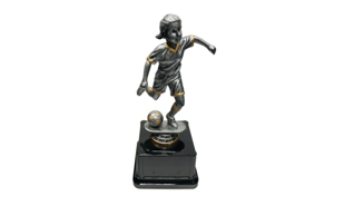 Pewter and Gold Tone Female Soccer Bobblehead Trophy: 8""