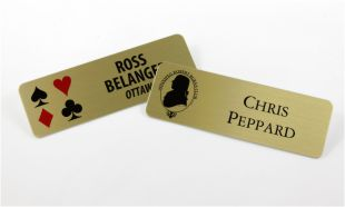 "3"" x 1"" Gold Aluminum Name Tag with Magnetic Back"