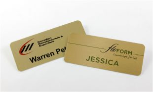 "3"" x 1-1/4"" Gold Aluminum Name Tag with Magnetic Back"