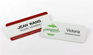 "3"" x 1-1/4"" White Aluminum Name Tag with Magnetic Back"