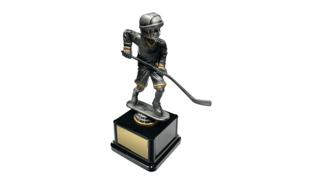 Pewter and Gold Tone Male Hockey Bobblehead Trophy: 8""