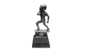Pewter and Gold Tone Male Football Bobblehead Trophy: 8-1/2""
