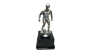 Pewter and Gold Tone Female Soccer Trophy: 7-1/2""
