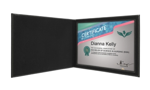 "Leatherette Certificate Holder - Blue/Silver: 9"" x 12"""