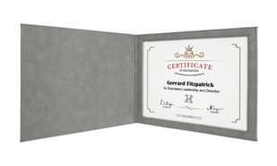 "Leatherette Certificate Holder - Grey/Black: 9"" x 12"""