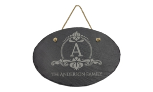 "Oval Slate Décor with Hanging String: 11-3/4"" x 7-3/4"""