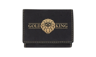 "Leatherette Trifold Wallet - Black/Gold: 4"" x 3"""
