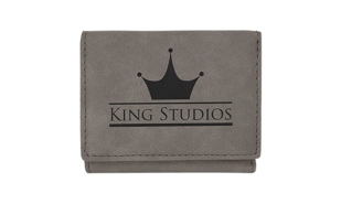 "Leatherette Trifold Wallet - Grey/Black: 4"" x 3"""