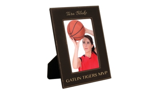 "Black/Gold Leatherette Photo Frame for a 5"" x 7"" Photo"