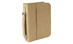 Light Brown Leatherette Book/Bible Cover with Handle & Zipper