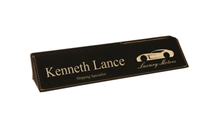 Black/Gold Leatherette Desk Wedge with Business Card Holder: 10-1/2""