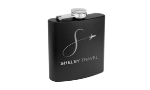 Matte Black Powder Coated Stainless Steel Flask:  6 oz.
