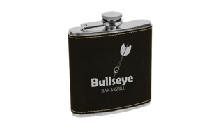 Black/Silver Leatherette Stainless Steel Flask: 6 oz.