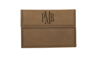 "Dark Brown Leatherette Hard Business Card Holder: 3-3/4"" x 2-3/4"""