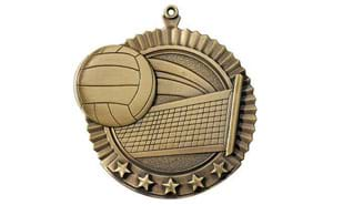 "2 3/4"" Five Star Volleyball Medallion"