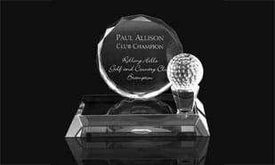 "4-3/4"" Galbraithe Optic Crystal Golf Presentation Award"