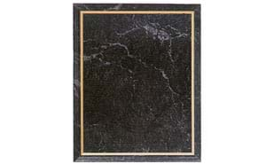 "6"" x 8"" Black Marble Laminate Plaque with Gold Trim"