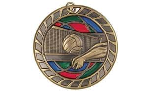 "2 1/2"" Stained Glass Volleyball Medal"