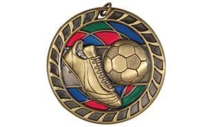 "Antique Bronze 2-1/2"" Stained Glass Soccer Medallion"