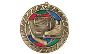 "Antique Bronze 2-1/2"" Stained Glass Hockey Medallion"