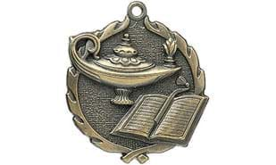 "1 3/4"" Sculptured Lamp of Knowledge Medallion"