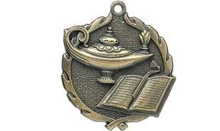 "2 1/2"" Sculptured Lamp of Knowledge Medallion"
