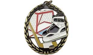 Full Colour Hockey Medallion: Antique Bronze 2-3/4""