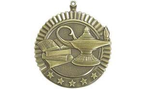 "2 3/4"" Five Star Lamp of Knowledge Medallion"