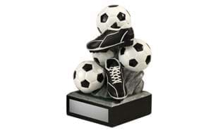 Soccer Ball and Cleat Tower Sculpture: 6-1/4""
