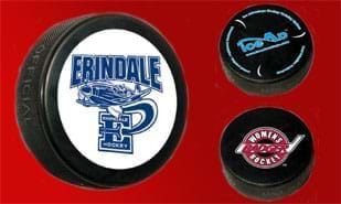 Official Custom Imprinted Black Hockey Puck - 1C Imprint